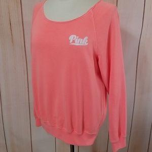 Victoria's Secret PINK Neon Coral Crew Sweatshirt